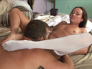 Brunette hussy Michelle Lay is a slut who knows what to do with guys erection