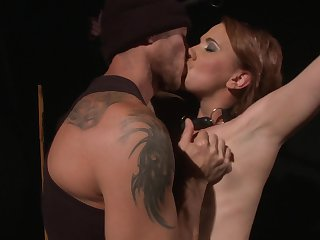 Redhead is on the edge of nirvana with guy's stiff pole in her mouth