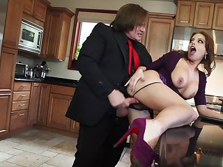 Brunette Britiney Amber with huge melons needs Evan Stones meat stick in her mouth desperately and gets it