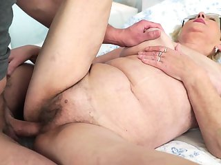 Blonde with huge knockers enjoys another great cumshot session