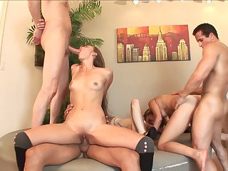 Teen Aiyana Flora gets a mouthful of man meat in blowjob action with Mark Wood before ass fucking