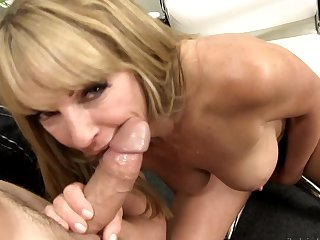 Blonde is in heaven sucking guys rock solid love torpedo