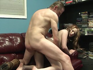 Redhead babe has some dirty fantasies to be fulfilled with guys erect meat stick in her mouth
