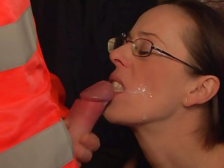 Teen needs nothing but man semen on her face to be happy