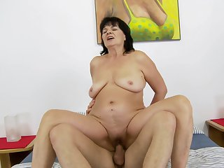 Mature with huge hooters is never enough and takes guys sturdy rod in her mouth again and again