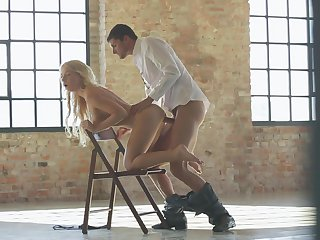Blonde demonstrates her body parts while getting her eager pumped good and hard by horny as hell guy