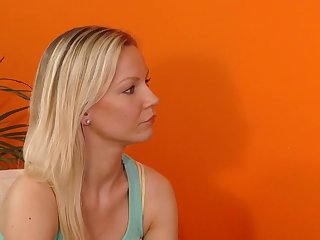 Blonde Allison has some time to stroke her fuck hole