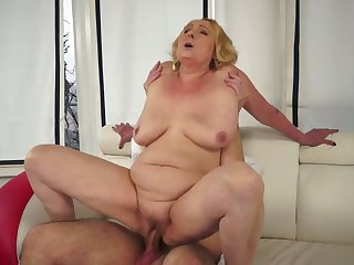 Blonde is in heaven blowing guys sturdy cock