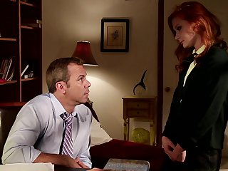 Redhead knows no limits when it comes to sucking her fuck buddys boner