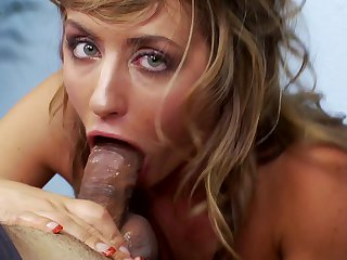 Blonde is horny as hell and sucks dudes rock solid ram rod with wild desire