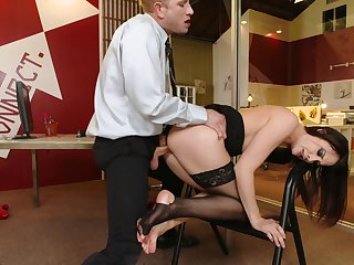 Long leg babe in stockings Chanel Preston  gets doggystyled