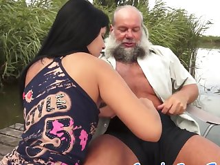Teen babe banged by grandpa outdoors