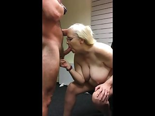 Mature slut Penny Sneddon sucking cock