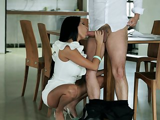 Brunette sweetie Anissa Kate with huge breasts is curious about taking money shot on her eager face
