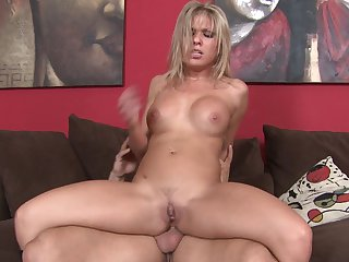 Blonde Aubey Addams with juicy breasts can't live a day without taking erect man meat in her mouth